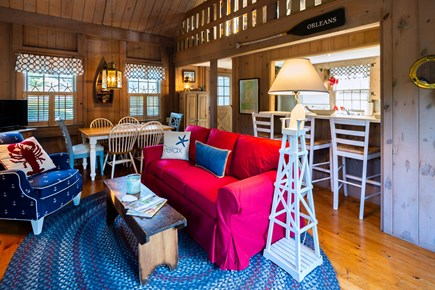 Orleans Cape Cod vacation rental - Open living area with AC, nautical decor and vaulted ceiling