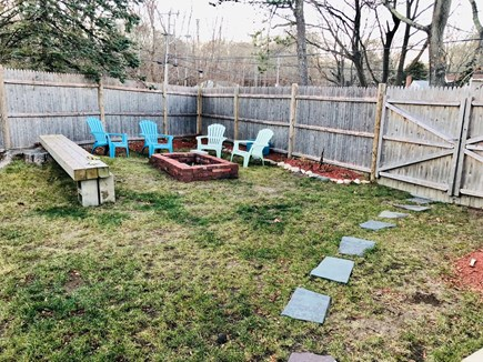Plymouth, Priscilla Beach MA vacation rental - Fire pit and large fenced fully fenced in Backyard