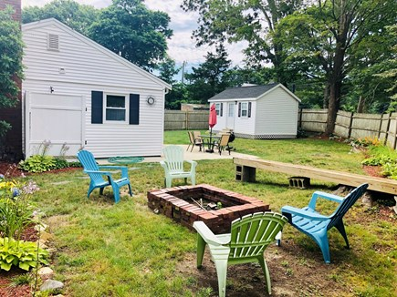 Plymouth, Priscilla Beach MA vacation rental - Fire pit and large fully fenced in backyard