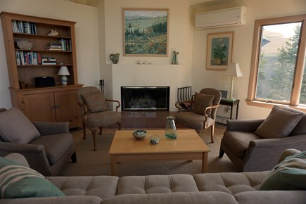 Falmouth, Sippewissett Cape Cod vacation rental - Living area with large corner fireplace