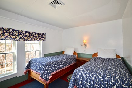 Wellfleet Cape Cod vacation rental - Twin bedroom 1 with handmade Adirondack beds and central AC