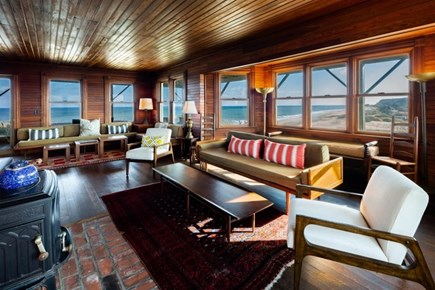Truro Cape Cod vacation rental - Large living room with stunning views and access to deck
