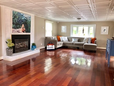 West Yarmouth Cape Cod vacation rental - Nicely decorated Living room, with gas fireplace, Large TV