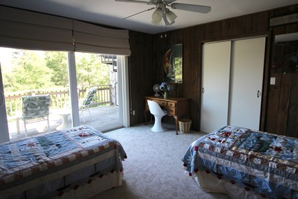 Truro Cape Cod vacation rental - First floor bedroom with twin beds opens to the main deck