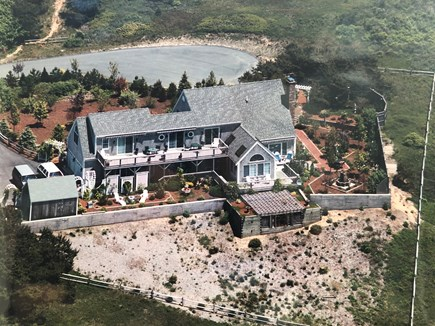 North Truro Cape Cod vacation rental - Ariel view from year built prior to 20x20 roof deck addition.