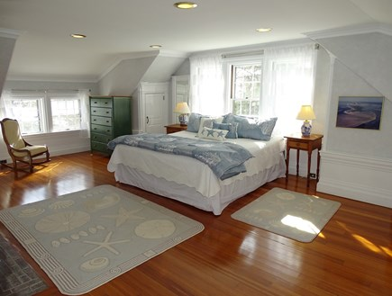 Yarmouth, Bass River Cape Cod vacation rental - King master upstairs with fireplace, ensuite bath, water views