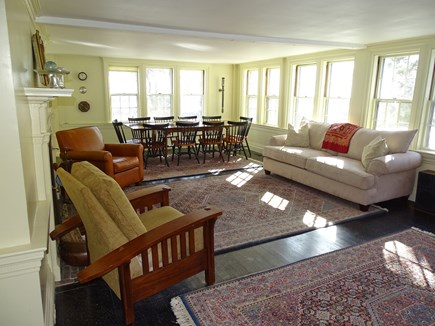 Yarmouth, Bass River Cape Cod vacation rental - Spacious living room with fireplace and dining area, water views
