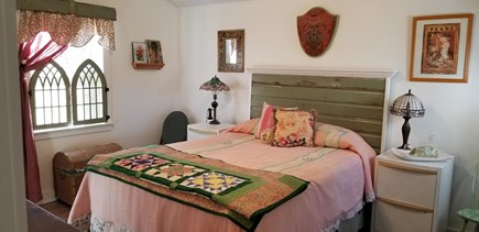 East Harwich Lond Pond Cape Cod vacation rental - Queen bed has custom headboard.  Ceiling fan