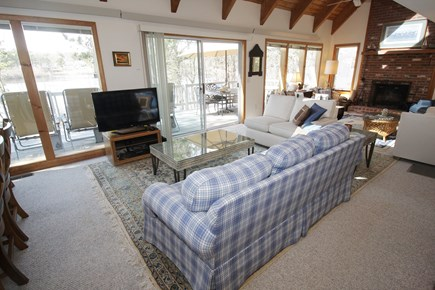 Brewster Cape Cod vacation rental - Living room with TV, games, fireplace and plenty of seating