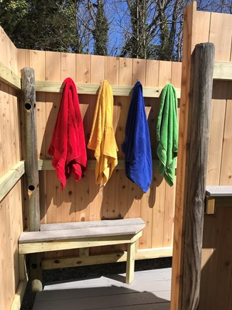 Orleans Cape Cod vacation rental - View of private, outdoor shower that has a separate dry area.