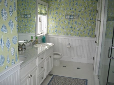 North Chatham Cape Cod vacation rental - 2nd floor full bath with double sinks and walk in shower.