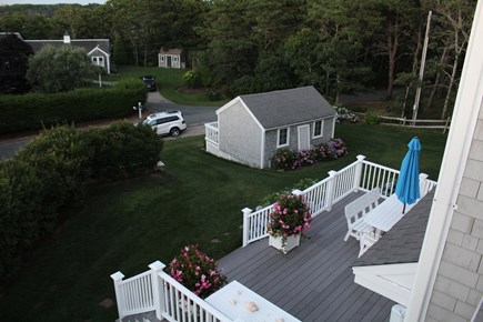 North Chatham Cape Cod vacation rental - Deck and bunk house with bunk beds, large screen TV and games.
