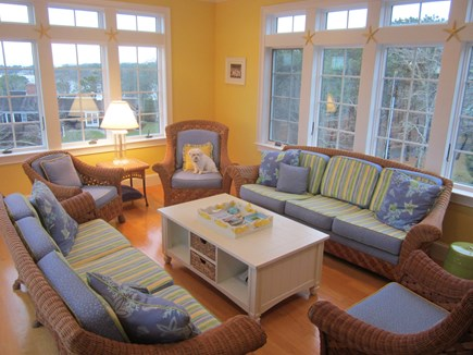 North Chatham Cape Cod vacation rental - 2nd story sun room with frig/ water views and bird's eye sunsets