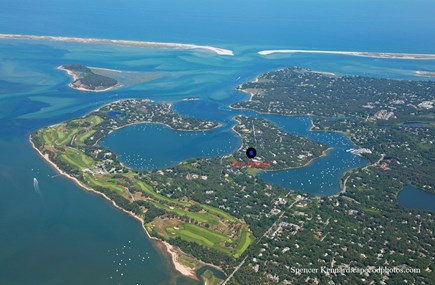 North Chatham Cape Cod vacation rental - Aerial photo of our location. We are steps to private beach.