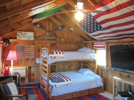 North Chatham Cape Cod vacation rental - Bunk house w/ games, AC, TV, so cool for the kids!