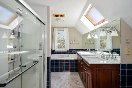 East Falmouth Cape Cod vacation rental - Master bath; jacuzzi, deluxe shower, heat lamps, etc..