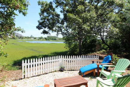 Harwich Port Cape Cod vacation rental - Fire pit in back yard looking on to water views