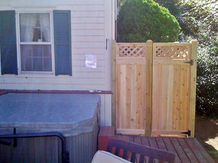 Barnstable Village Cape Cod vacation rental - Deck with 6 person hot tub and private outdoor shower