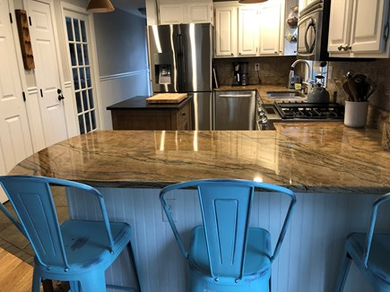 Brewster Cape Cod vacation rental - Large bright modern kitchen with center island and breakfast bar