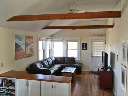 Brewster Cape Cod vacation rental - Living Area - open floor plan, cathedral ceilings, ceiling fan.