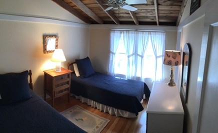 Wellfleet Cape Cod vacation rental - Back bedroom with two twins & vaulted ceiling