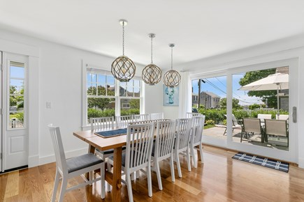 Dennis, Mayflower Beach Cape Cod vacation rental - Dining area with slider onto large patio