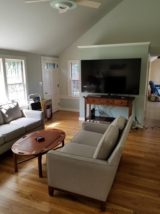 South Chatham Cape Cod vacation rental - The living room entertainment system with Bluetooth streaming
