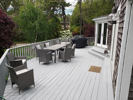 South Chatham Cape Cod vacation rental - Barbeque ready deck. New Weber gas grill and plenty of seating.