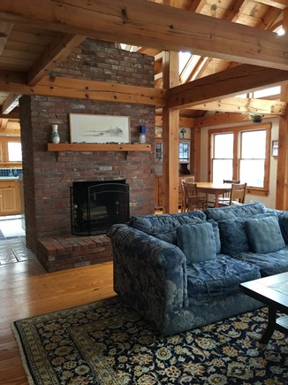 Truro Cape Cod vacation rental - Living room open to the kitchen and dining room.