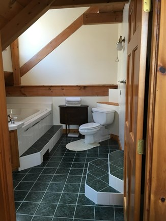 Truro Cape Cod vacation rental - Attached master bath with skylight, jacuzzi tub and stall shower.