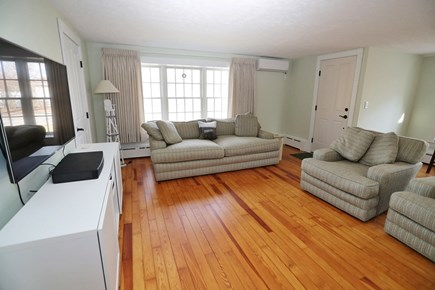 Falmouth Cape Cod vacation rental - Living room with A/C 2 overstuffed chairs and overstuffed sofa