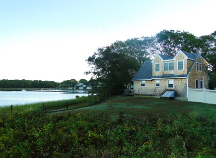 Onset, Buzzards Bay MA vacation rental - Fenced back yard, leads down to beach
