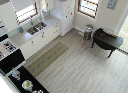 Onset, Buzzards Bay MA vacation rental - View of modern, remodeled kitchen from upstairs