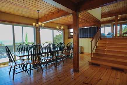 Truro Cape Cod vacation rental - Live edge wood and granite table accommodating 16 guests.