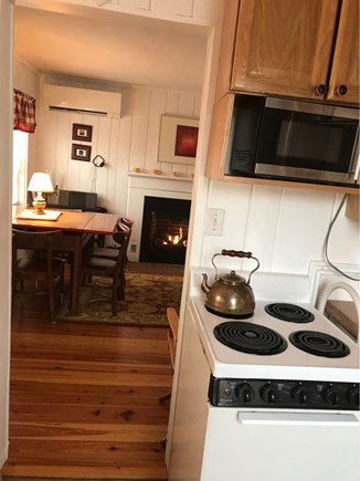 Wellfleet Cape Cod vacation rental - View from kitchen into open living and dining area.