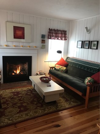 Wellfleet Cape Cod vacation rental - Cozy living room with fireplace and artwork!