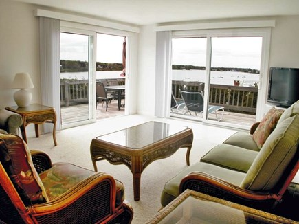 Chatham Cape Cod vacation rental - Living Room has stunning water views, doors to deck, central air