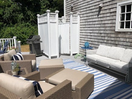 West Falmouth Cape Cod vacation rental - Back deck with outdoor shower