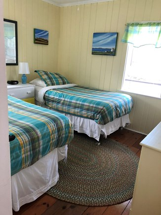 Wellfleet Cape Cod vacation rental - Twin bedroom - Ceiling fan, 2 windows and 2 dressers & closet.
