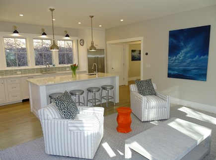 Provincetown,  East End Cape Cod vacation rental - Living room opens to modern new kitchen, entrance to dining room