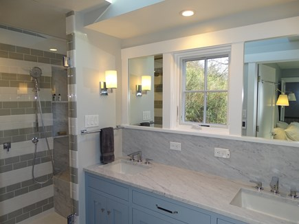 Provincetown,  East End Cape Cod vacation rental - Enclosed glass shower, double sinks vanity, separate toilet rooom