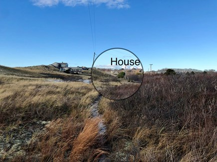 Truro Cape Cod vacation rental - A look back at the home from a meandering National Seashore trail