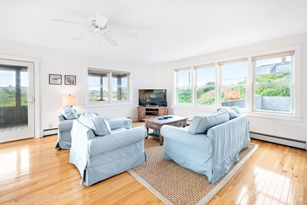 Truro Cape Cod vacation rental - Airy living room off kitchen/dining area. Peeks of the Bay.