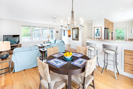 Truro Cape Cod vacation rental - Dining area off kitchen, beside slider to back deck and grill.