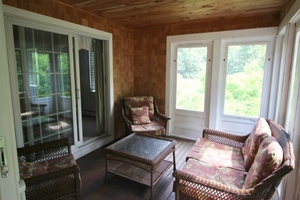 Truro Cape Cod vacation rental - Another view of screen porch with slider from main bedroom