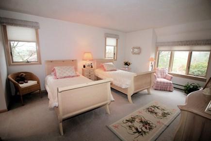 Wellfleet Cape Cod vacation rental - First floor bedroom with two twins, en-suite bath & door to deck