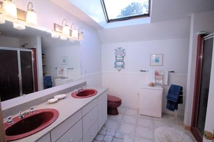 Wellfleet Cape Cod vacation rental - Master en-suite bathroom with two sinks and shower