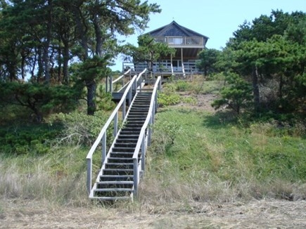 Wellfleet Cape Cod vacation rental - Stairs to beachy area and tidal water
