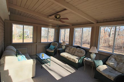 Dennis Cape Cod vacation rental - Partial view of the 3 season sun room (opens to deck)
