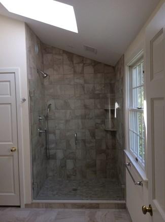 Dennis Cape Cod vacation rental - Master bath tiled shower